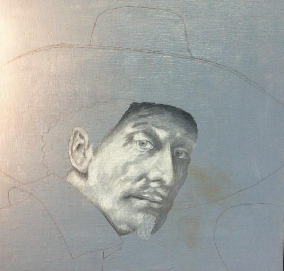 Ébauche d'une copie de Rembrandt - Etape du montage de la lumière