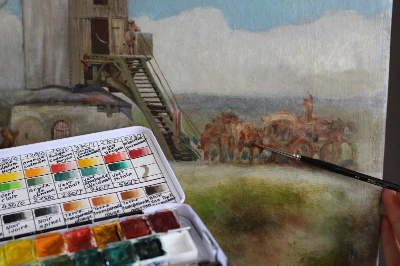 Retouche esthétique sur peinture de chevalet